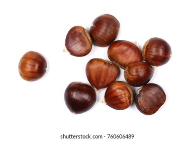 Pile edible chestnut isolated on white background, top view