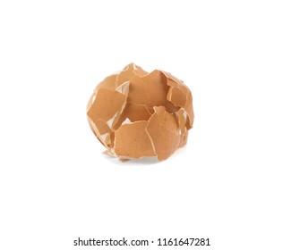 pile of eggshell, cracked shell isolated on white background