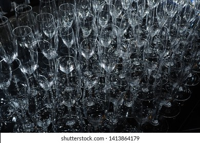 Pile of empty clean glasses