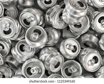 Pile of empty crashed aluminum soda cans