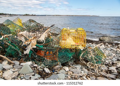 A pile of empty lobster cages littering a New Hampshire beach.