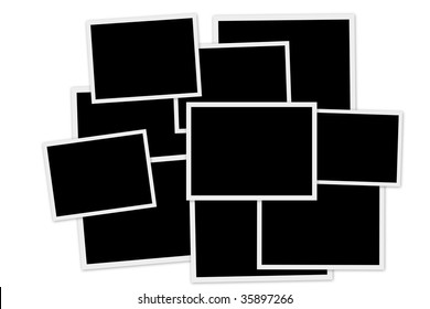 Pile of empty photo frames on white background