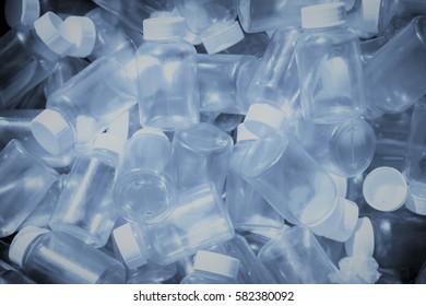 Pile of empty plastic bottle for concept background - Soft Blue