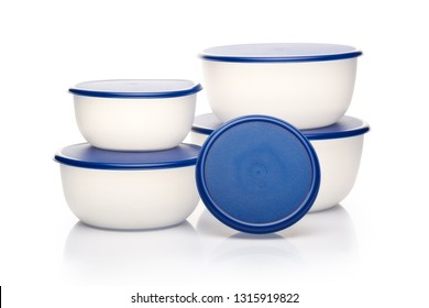 Pile of empty transparent plastic containers for food on a white background. Lunch box. Ware of a warming up of food in a microwave and storages in the refrigerator.