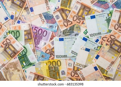 pile of euro banknotes as background