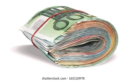 Pile of Euro banknotes isolated on a white background