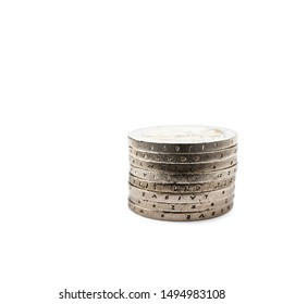 Pile of euro coins isolated on white background. Stack of euro coins. Save money and accumulate wealth. Macro.