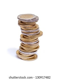 Pile of euro coins on white background