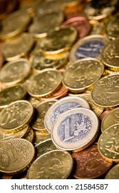 Pile of Euro money coins