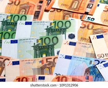 a pile of european euro banknotes as an element of the financial system
