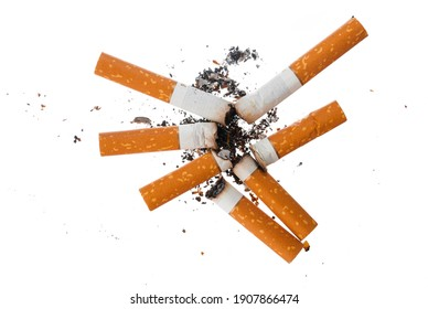 Pile of extinguished cigarette butts isolated on white