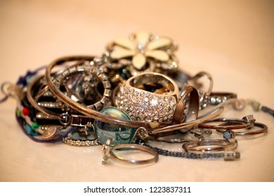 Pile of female jewellery