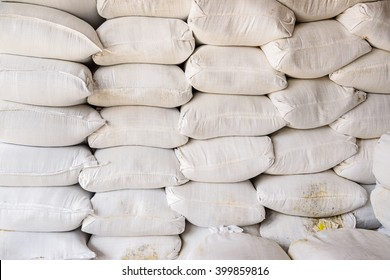 Pile of fertilizer bags, Stacks of fertilizer bags In Warehouse, selective focus