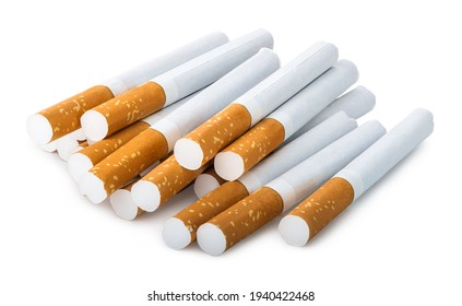 Pile of filtered cigarettes isolated on a white background