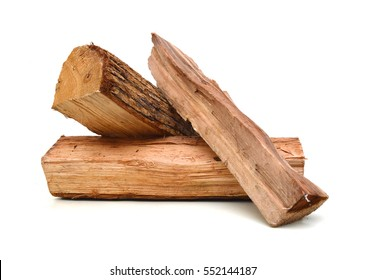 Pile of firewood isolated on a white background