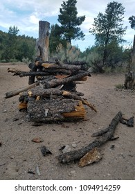 Pile of firewood for outdoor mountain campfire