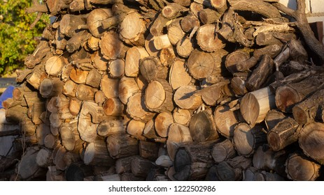A pile of firewood. Preparing firewood for winter and use for cooking, background for firewood. Sunlight falls on firewood. Side view.