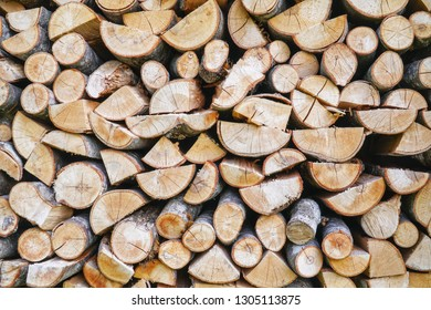 Pile of firewood.prepared to fireplace for the winter and use for cooking,firewood background,Stacks of firewood arranged in a row in the forest.Material for heating the house.Ecological natural fuel.