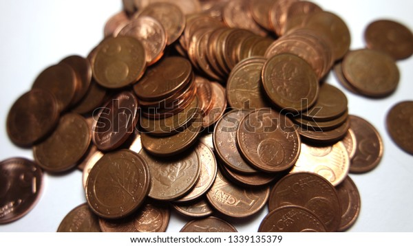Pile of five euro cent coins