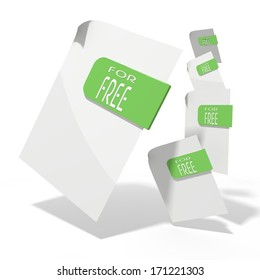 pile of flying 3d icons for free documents in various perspective isolated on white background