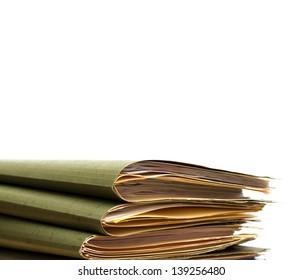 pile of folders over white