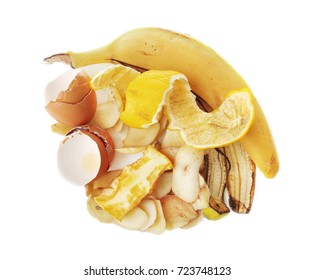 Pile of food waste on white background