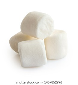 Pile of four white mini marshmallows isolated on white.