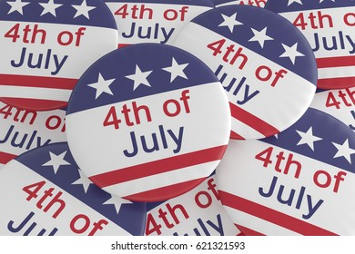 Pile of Fourth of July Buttons With US Flag, 3d illustration