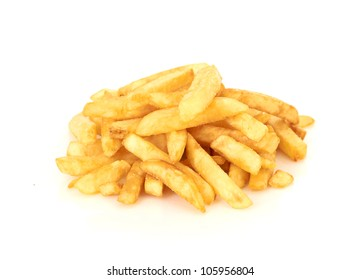 a pile of french fries on a white background