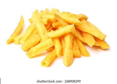 a pile of french fries on white background
