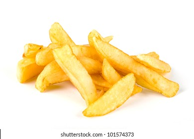 Pile of french fries over white