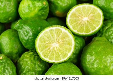 Pile of fresh bergamot fruit. Bergamot is ingredient in asean food and is herb for body care.