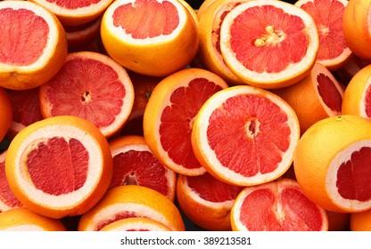 Pile of fresh grapefruits on display at street market, Istanbul, Turkey