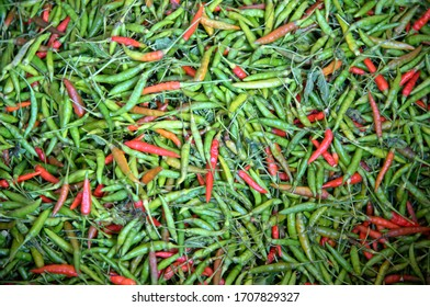 pile of fresh green and red chili peppers on thai market
