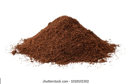 Pile of fresh ground coffee isolated on white