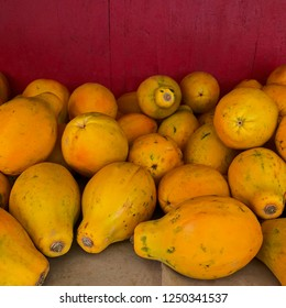 Pile of fresh papayas
