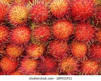 Pile of fresh rambutan fruit