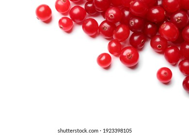 Pile of fresh ripe cranberries on white background, top view