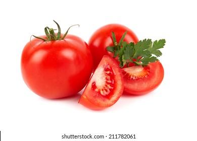 Pile of fresh tomatoes isolated on white background