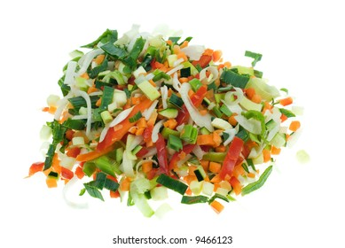 a pile of freshly cut vegetables isolated on a white background