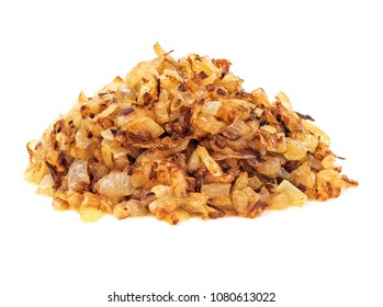 Pile of fried gold onion or shallots for garnishing isolated on white background.