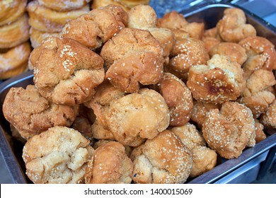 Pile of fried White Sesame Cookie (as known as Kanom Hua Roh), Thai dessert