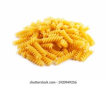 Pile of fusilli pasta isolated on white background