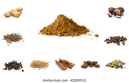 Pile of Garam Masala and Ingredients: dry ginger, cumin seeds, black pepper, coriander, cinnamom, anise, cardamon, cloves, nutmeg on white background. Indian spice mix