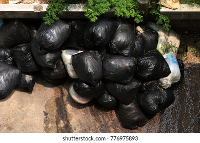 Pile of Garbage bin black top view, Many black garbage bags, Waste plastic many, Bin bags waste pollution