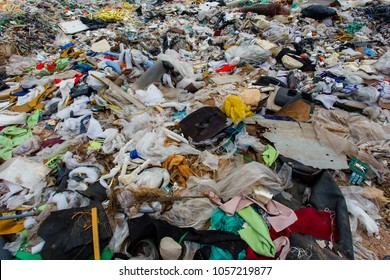 pile of garbage , garbage dump ,Waste from household in waste landfill , global warming