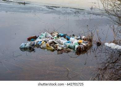 The pile of garbage in the water
