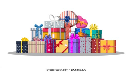 Pile of gift boxes isolated on white. Colorful wrapped. Sale, shopping. Present boxes different sizes with bows and ribbons. Collection for birthday and holiday. illustration in flat style