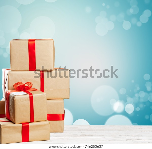 pile of gifts on the old table