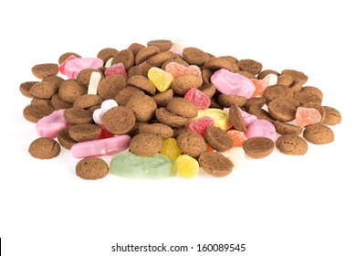 Pile of ginger nuts ans sweets. Typical Dutch candy for Sinterklaas event in december